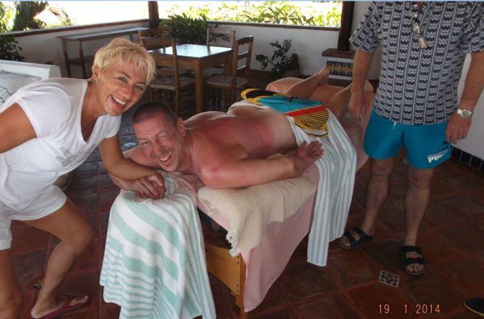 Sonnenbrand und Massage