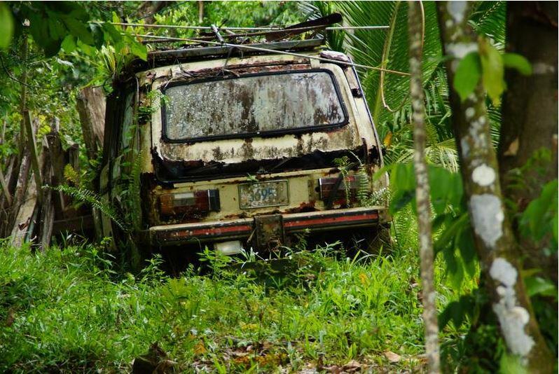 Costa Rica 11 Wrack im Dschungel, Puerto Viejo