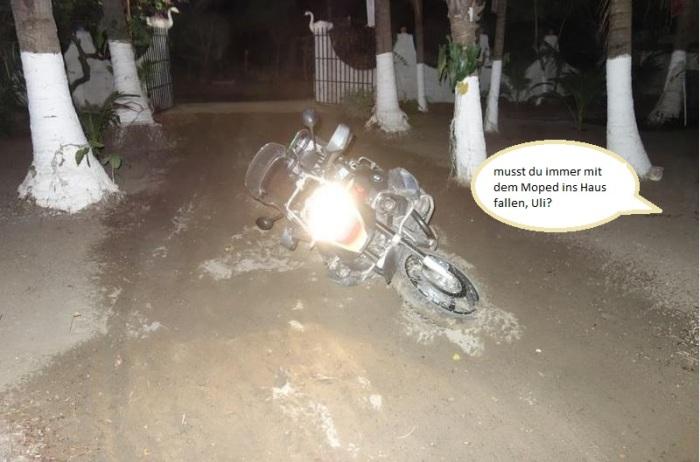 musst du immer mit dem Moped ins Haus fallen, Uli