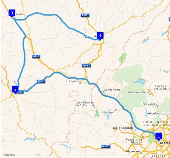Ruta Europa 1. Etappe - Madrid, Ávila, Arévalo, Segovia