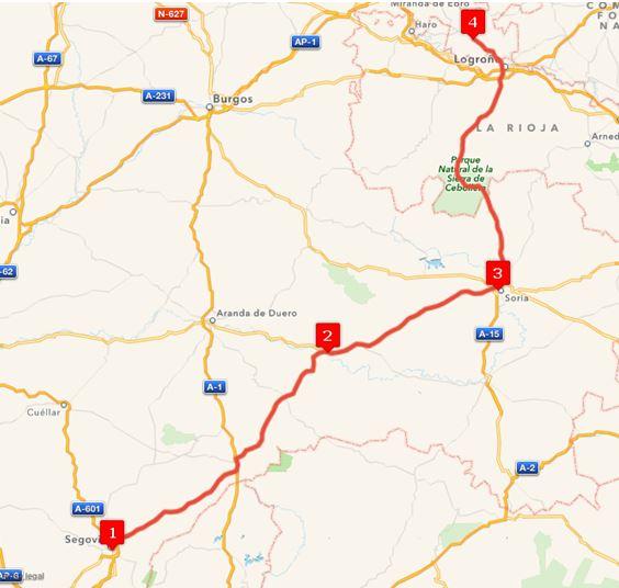 Ruta Europa 2. Etappe - Segovia, Esteban de Gormaz, Soria, Laguardia, Álava