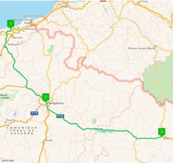 Ruta Europa 4. Etapppe - San Sebastián, Guipuzcoa, Pamplona, Navarra, Jaca, Huesca