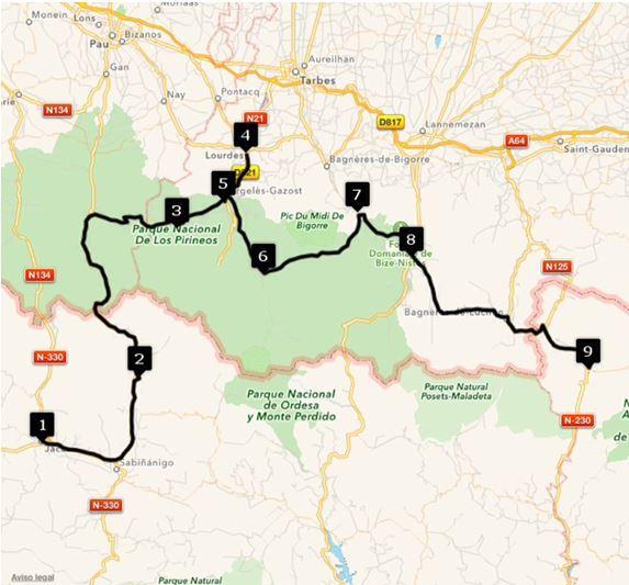 Ruta Europa 5. Etappe - Jaca, Huesca, Hoz de Jaca, Huesca, Spanien, Arrens-Marsous, Frankreich, Lourdes, V.d'Argelès-Gazost, Luz-Saint-Sauveur, Sainte-Marie, Campan, Arreau, Frankreich, Vielha, Lleida, Spanien