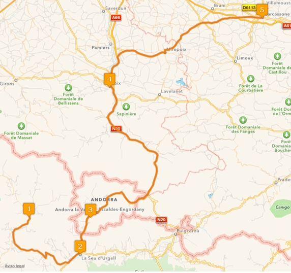 Ruta Europa 6. Etappe -Llavorsí, Lleida, La Seu d'Urgell, Lérida, España, Andorra la Vieja, Andorra, Foix, Frankreich, Carcasona, Frankreich