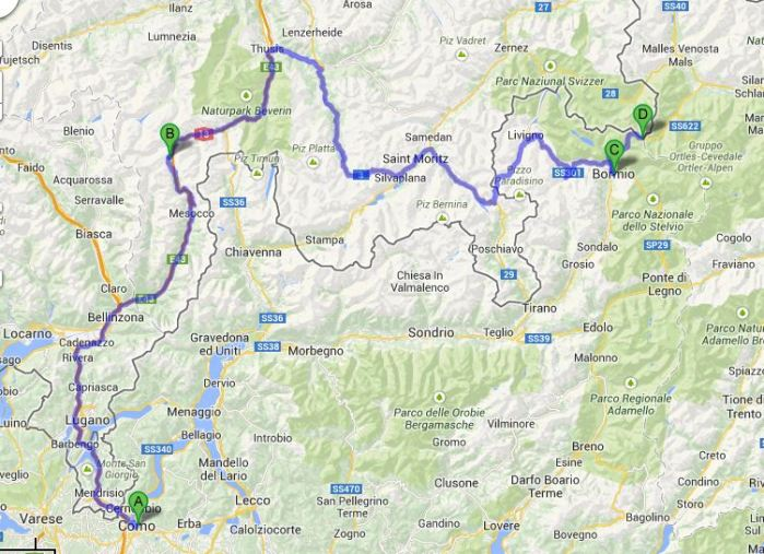 Ruta Europa 11. Etappe - Como, Italien, San Bernardino, Mesocco, P. d. Stelvio, Santa Maria Val Müstair, Schweiz