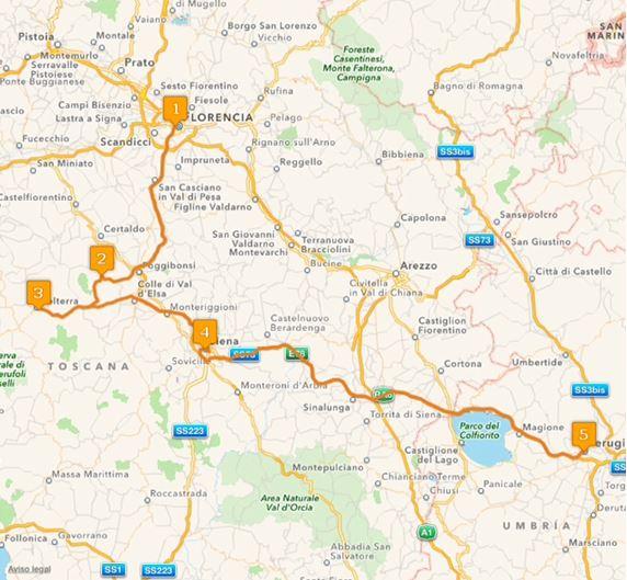 Ruta Europa 16. Etappe - Florenz, San Gimignano, Pisa, Siena, Perugia
