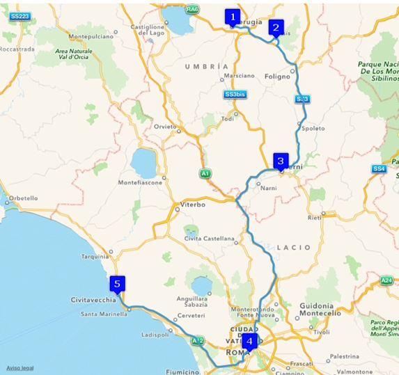 Ruta Europa 17. Etappe - Perugia, Assisi, Perusa, Terni, Rom, Civitavecchia Roma